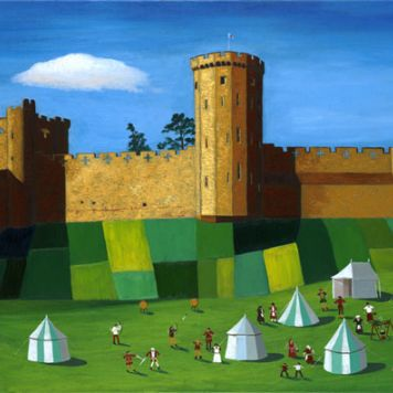 Warwick Castle With Medieval Village