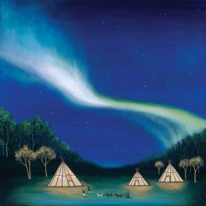 Aurora Borealis with Teepees, Northern Canada