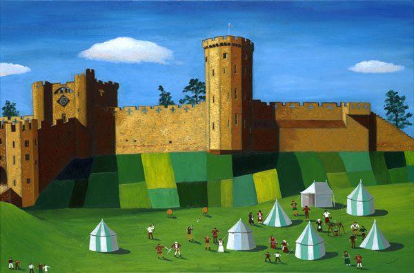 Warwick Castle With Medieval Village
